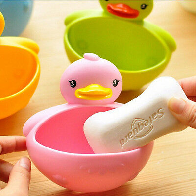 Bathroom Shower Duck Soap Dish Case Toothbrush Holder Suction Cup 4 Color FT