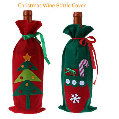 Christmas Table Decoration Xmas Tree/Golve Red Wine Bottle Holder Cover Gift Bag