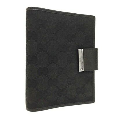 100% Authentic GUCCI GG Pattern Black Canvas Notebook Cover /263