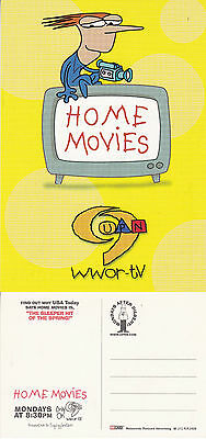 HOME MOVIES CHANNEL 9 WWOR TV UNUSED ADVERTISING COLOUR  POSTCARD (a)