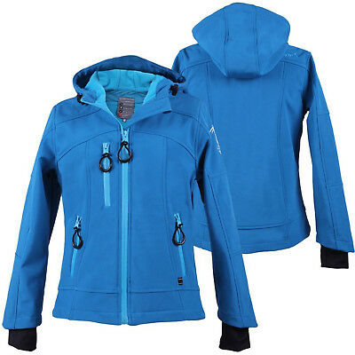 QHP Kinder Softshell Jacke Gwen Junior türkis FleeceFutter Kapuze Winter 2017/18