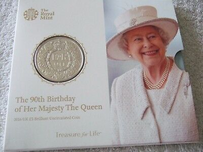 Royal Mint 2016 Five Pounds BU £5 coin Pack- Queen Elizabeth II 90th Birthday