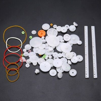 75pcs White Plastic Gear Rack Pulley Belt Worm Gear Single Double Reduction DIY