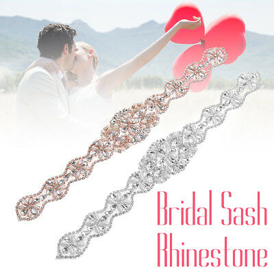 Rhinestone Crystal Applique Wedding Bridal Dress Sash Sewing Beaded Sparkle Belt