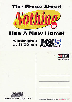 SEINFELD ON FOX 5 TV CHANNEL UNUSED ADVERTISING COLOUR  POSTCARD (a)