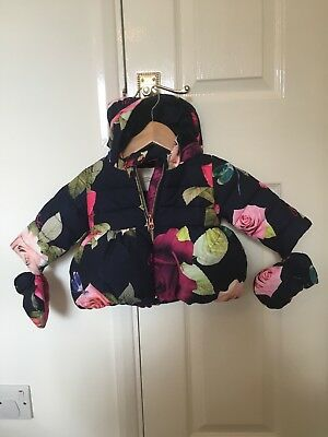 Ted Baker baby girls coat with mittens size 3-6 months