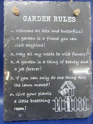 Slate Garden Plaque - Garden Rules Slate Sign - New