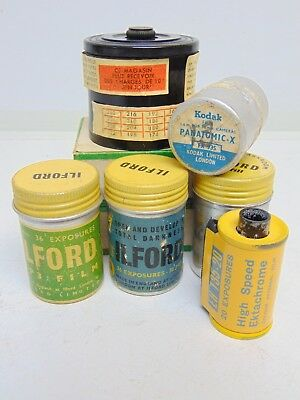 Vintage 35mm film cans cases tank Ilford HP3 FP3 Selo Kodak Panatomic Ektachrome