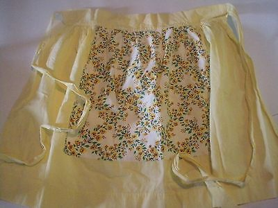 Vintage Cotton Ladies Apron Kitchen Wear Clothing Yellow Flowers