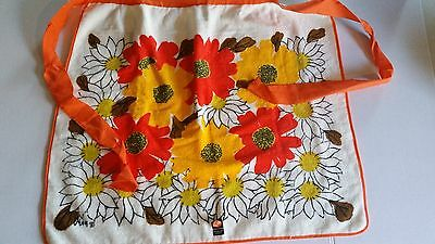 Vintage Apron 100 Percent Cotton Orange and Floral Towel Material Retro