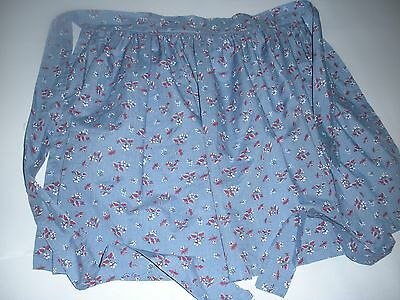 Vintage Cotton Ladies Apron Kitchen Wear Clothing Plus Size Blue Red Flower