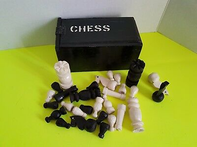 Vintage 1950s Handmade Wooden Chess Set Game with Wooden Box Painted