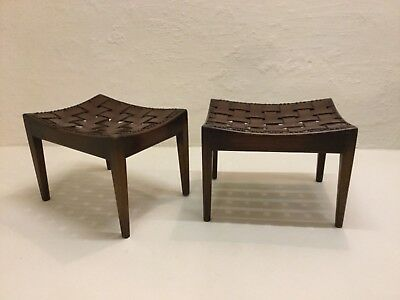 A Pair Of Mahogany & Leather Strap Stools By Arthur Simpson Of Kendal