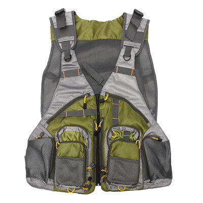 AU Adjustable Fly Fishing Vest Mutil-Pocket General Size Sport Outdoor Mesh Vest