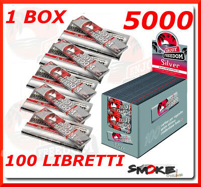 5000 Cartine Enjoy Freedom Silver Grigie Corte, 100 Libretti Da 50 Cartine