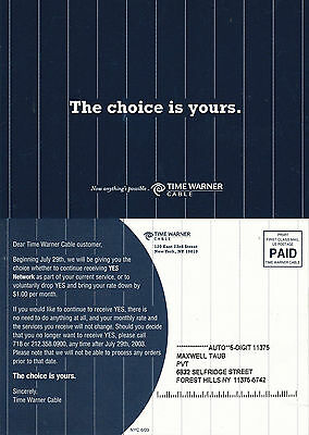 Yes Network Time Warner Cable Advertising Colour  Postcard