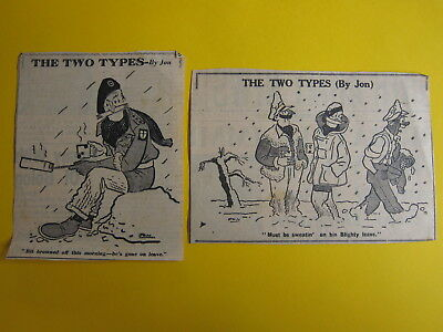 ***CHARITY SALE*** wartime newspaper cartoons The Two Types by Jon (lot 1)