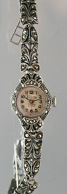 Vintage 1930s Felicia 17 Jewels Incabloc Lady's Sterling Silver Marcasite Watch
