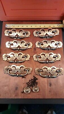 10 Vintage Brass Drawer Pulls-8 large handled and 2 round