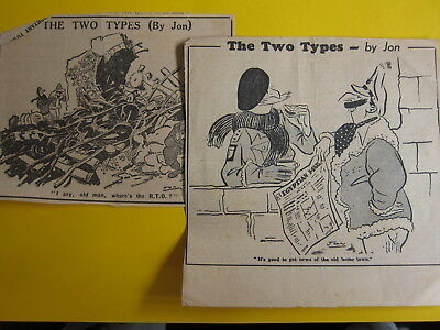 ***CHARITY SALE*** wartime newspaper cartoons The Two Types by Jon (lot 2)