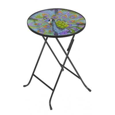 Smart Garden Peacock Glass Table Hand Painted Foldable Patio Weather Resistant