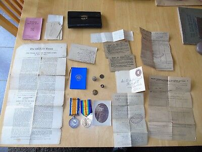 Ww1 Medals Welsh Horse Casualty Papers Wound Labels Badge Wounded 4 Times Photo
