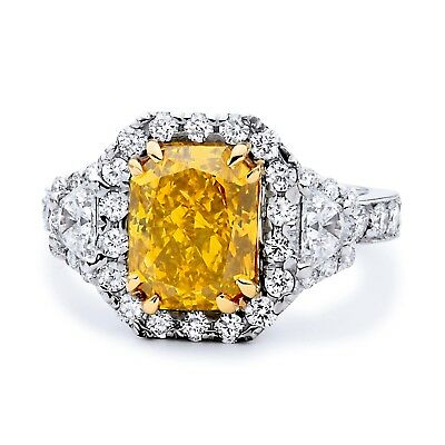 4.61 CT Radiant VS2 Halo Vintag Fancy Yellow Diamond Engagement Ring 18k Gold