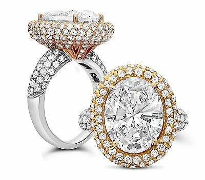 8.50 Ct F/si1 Oval Cut Micro Pave 18K Tow Tone Gold Diamond Engagement Ring