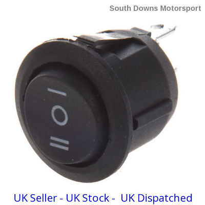 On Off On 20mm Black Round 3 Pin Rocker Switch for Car,Boats etc. SPDT