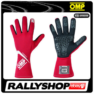 FIA OMP FIRST-S RACE first s Karthandschuh Handschuhe Professionell Rot Rally