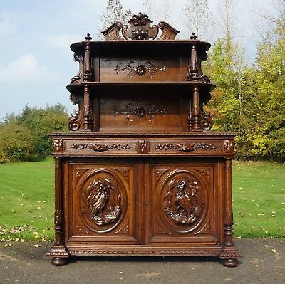 Very Attractive Antique Carved Oak French Country Lodge Buffet Sideboard Dresser