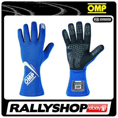 FIA OMP FIRST-S RACE first s Karthandschuh Handschuhe Professionell Blau Rally