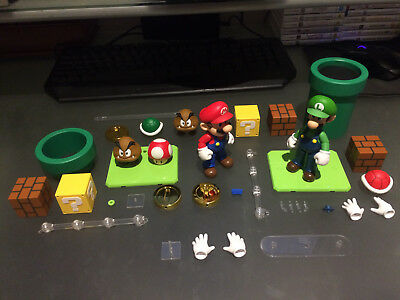 Bandai S.H. Figuarts Nintendo Super Mario + Luigi + Play Sets 1 + 2, Loose, NM