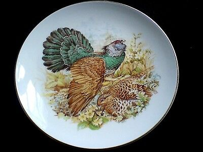 FENTON CHINA STAFFORDSHIRE Capercaillie Birds 9 1/4 in Display Cabinet Plate