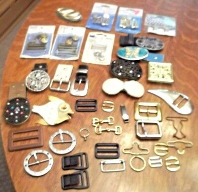 Huge Lot of Vintage Belt, Overall Buckles and Clips