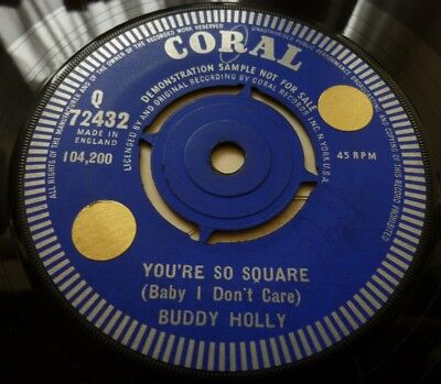 Buddy Holly, You're So Square, 1961 Coral Record Label Demonstration Sample 45.
