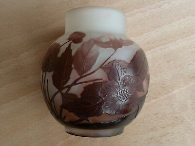 Early 20th century Genuine Emile Galle vase purple overlay body acid etched Sign