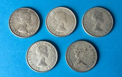 Job Lot Of Canadian Half Dollar Coins 1961-1965 (Five 50c Coins)