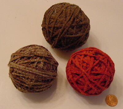 3 Antique Handmade Red & Brown Fabric Old Rag Rug Balls from Vermont Estate