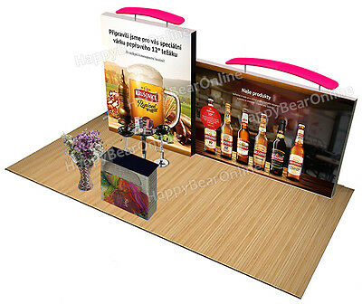 Trade show fabric tension Quick pop-up booth 20 ft TV monitor Shelves XJ-26