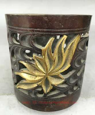 Chinese Bronze Gilt Copper hollow out Pen Container Brush Pot Penrack Statue