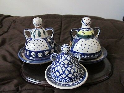 polish pottery butter/cheese ladies [three]
