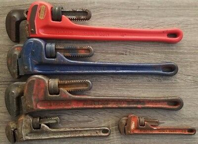 Lot of 5 Ridgid pipe wrench wrenches 18, 18, 18, 10,  8 heavy duty plumbing