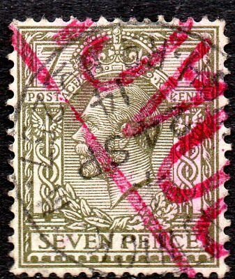 1914 SG 387 7d Olive Fine Used with cancellation dated 24 Semptember 1914