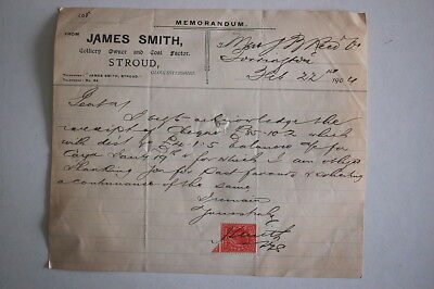 Stroud Glos Colliery Owner Invoice Memo 1904