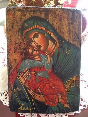 Vintage Hand Painted Religious Icon On Wooden Panel