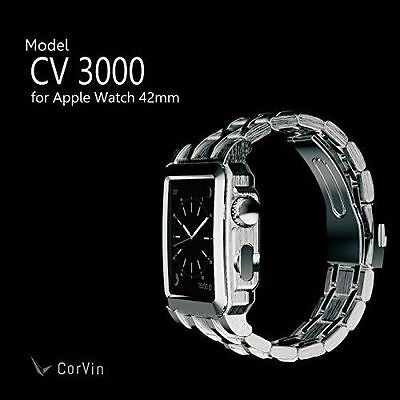 CorVin Premium CV-AW3000SS CV3000 Leather Band Silver Metal for Apple Watch JP