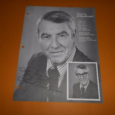 Terry O'Sullivan was an American actor, Hand Signed Program Page