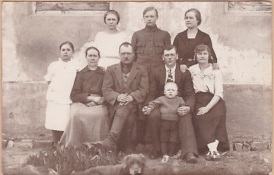 Antique Real Photo PC - Family Outside House - Sweet Old Labrador Dog - Children