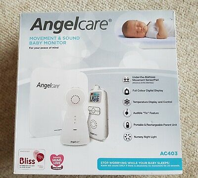Angelcare AC403 Movement and Sound Baby Monitor Colour, Night Light, Temperature